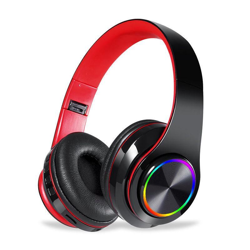 Bluetooth 5.0 auriculares internos de nuevo con Deep Bass, luz del LED hasta estéreo plegable auriculares inalámbricos micrófono incorporado para Móvil / TV