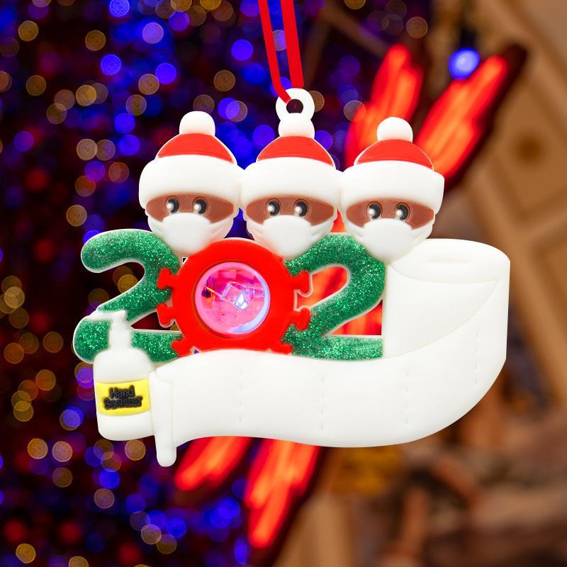 LED Noel Karantina Süsler 2020 2021 Led Işıklı Kardan Adam DIY Aile Partisi Ağacı Dekorasyon Maske Face ile kolye kişiselleştirilmiş bir tebrik