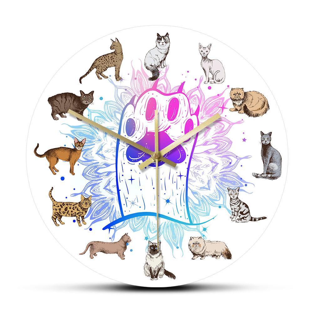 Hand Drawn gatito del gato Razas reloj de pared de la pata del gato del gatito de las ilustraciones de dibujos animados Decoración silenciosa de cuarzo reloj de pared de colgante del gato amante regalo