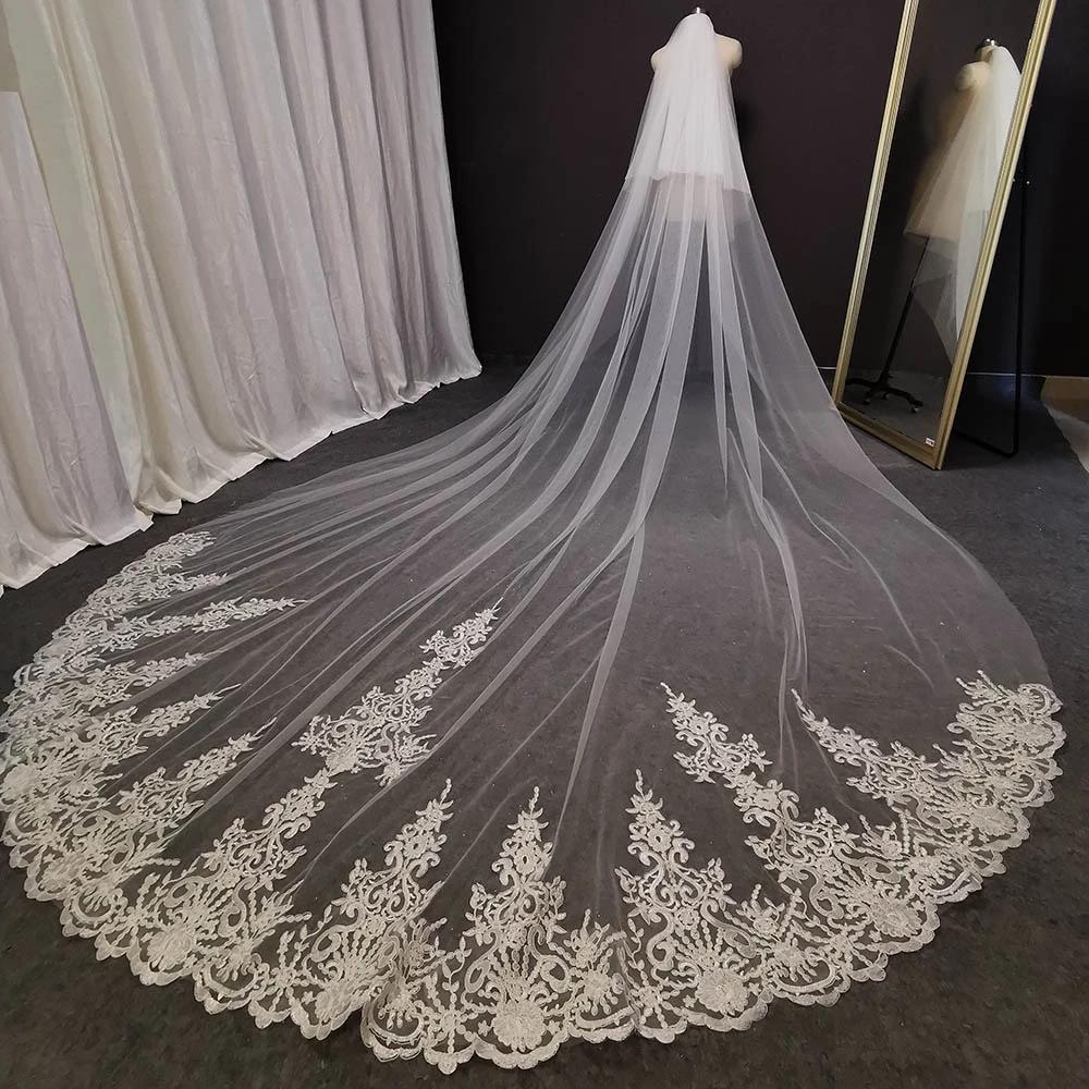 Gerçek Fotoğraflar 3 Metre Uzun Dantel Düğün Peçe Beyaz Fildişi Gelin Peçe Tarak Allık Gelin Başlığı Düğün Aksesuarları ile
