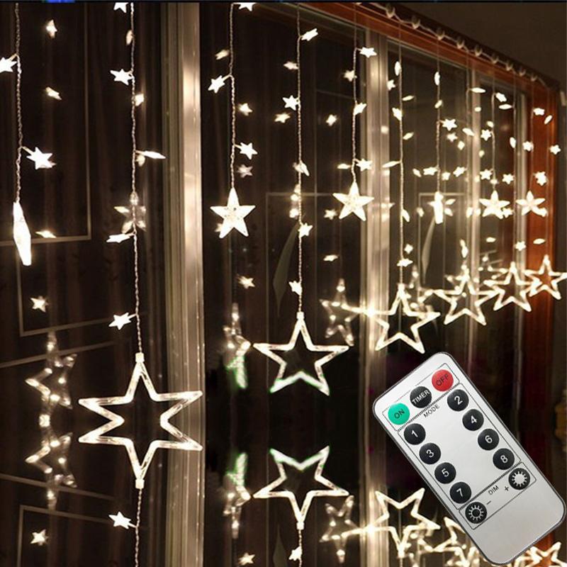 LED luci della stringa pentagramma stelle tende Luce natalizia Matrimonio Compleanno Natale illuminazione Telecomando luce decorazione dell'interno