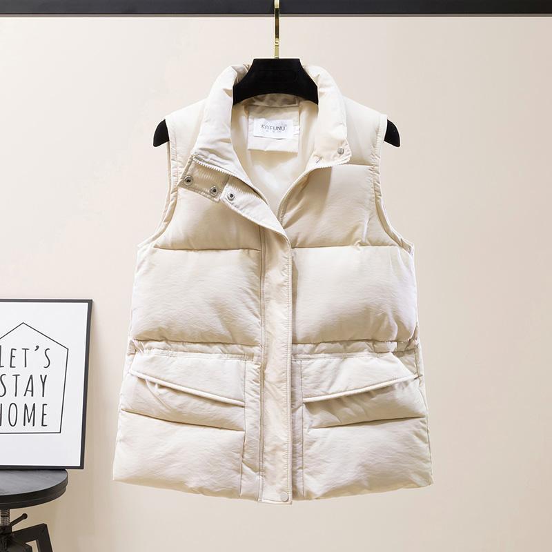 Gilets pour femmes 2021 Winter Femmes Vest Style Solide Veste sans manches solide avec fermeture à glissière Big Pockets Coton épais Coton rembourré Casual Casual Femelle