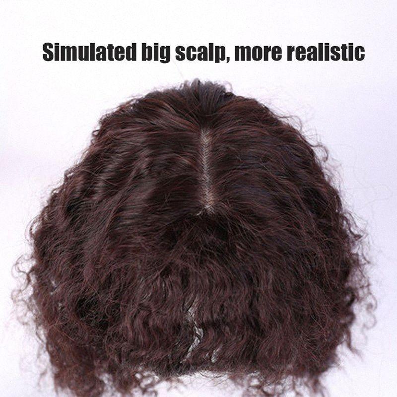 AILIDE SIMULACIÓN CIOR HUMANO Cierre de cabello Tupados Kinky Curly Hair Topper Negro marrón Sintético Natural Clip Bangs Mujeres Posquillas M6RB #