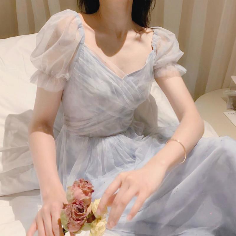 Été Vintage robe femmes style français dentelle de mousseline de mousseline de fées de fée décontractée manches bouffées d'été automne designer 2020