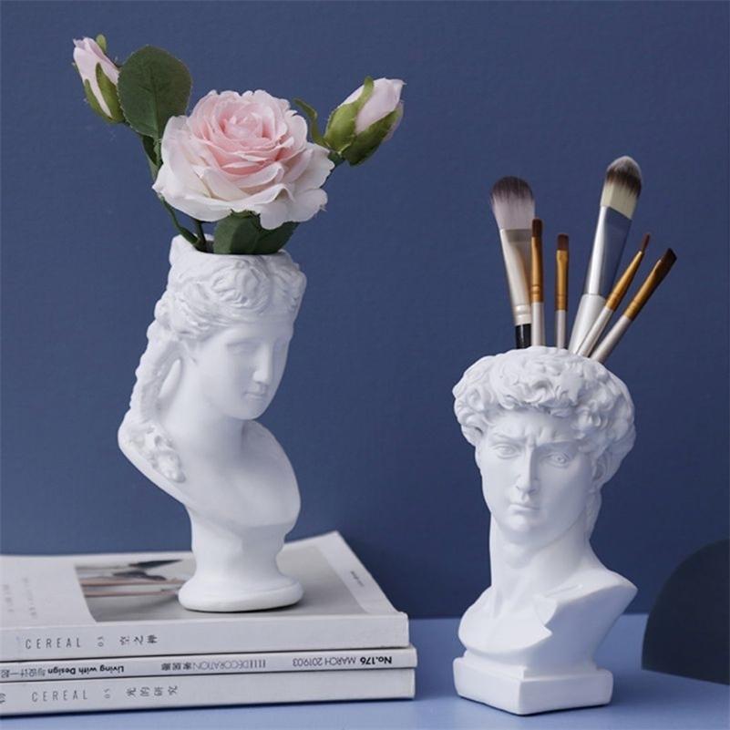 Великий художник смола ваза цветок горшок северный стиль человеческих головок ручка кисти держатель украшения дома творческий сад letter lej201210