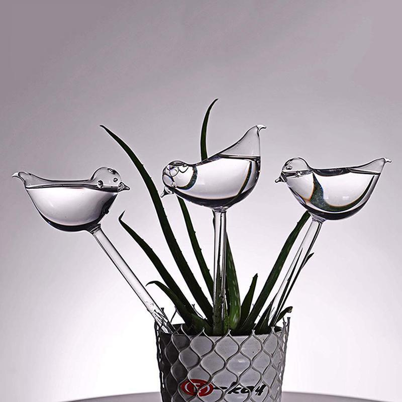 1pcs Dispositif d'arrosage de fleurs automatique Plante Water Soi Soi Holing Globes Bird Shape Clear Blown Effacer Aqua Bulbes Nouveau