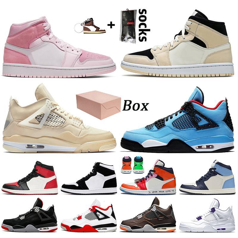 nike air jordan 1 jordan retro 1 off white jordan 4 4s travis scott stock x مع مربع 2021 Jumpman أحذية كرة السلة للرجال والنساء احذية المتدربين الرياضية الحجم 13 Fire Red
