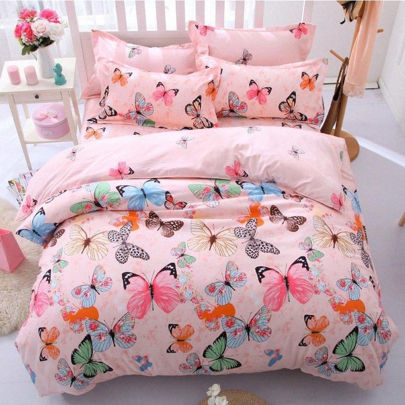 Bunte Schlafzimmer Bettwäsche-Set Bettwäsche-Set-weiche Gewebe Schöne Schmetterlings-Druck-Muster Pillowcase Bettwäsche Bettbezug GP73 #