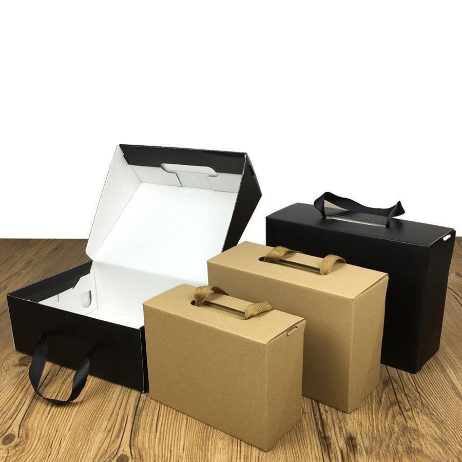 Экологичный Kraft Paper Gift Box Black / Brown 4 Размер Складная картонная упаковка коробка Подходит для одежды и обуви HH9-3420