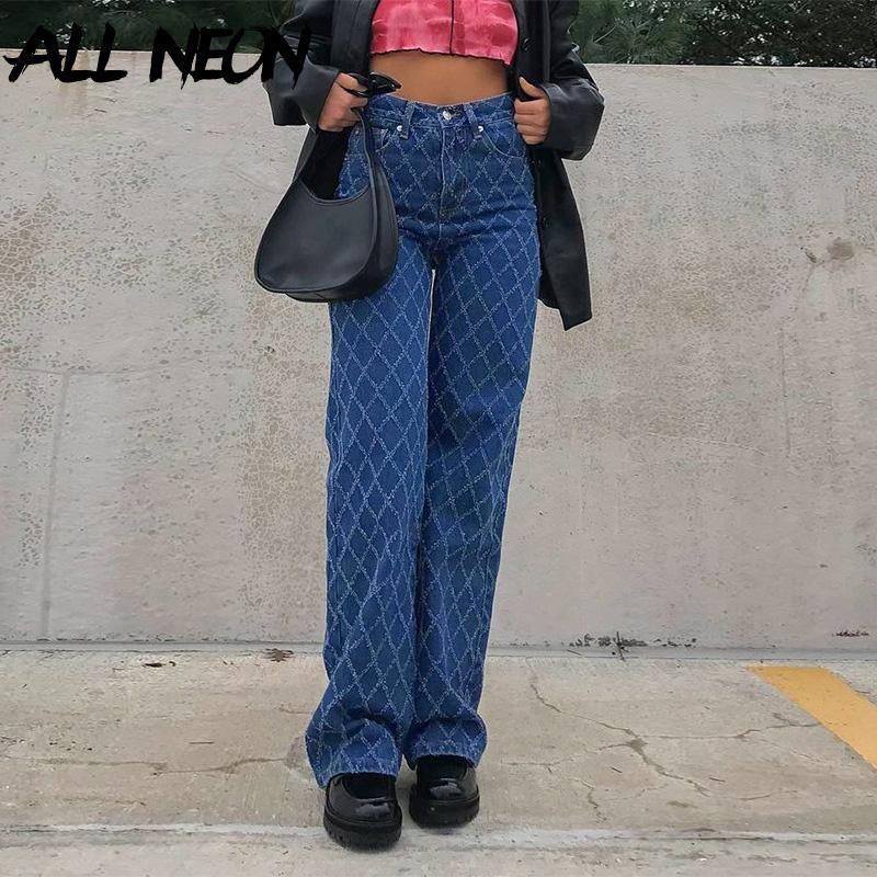 Allneon 90s Streetwear Argyle Ekose Baggy Kot Y2K Estetik Yüksek Bel Mavi Denim Pantolon Vintage Indie Pantolon Skater Kıyafetler