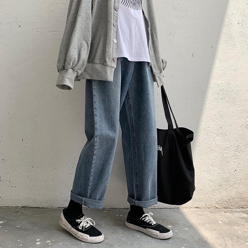 2020 мужская мода Trend классический стиль грузовые карманные джинсы синий цвет мешковатый Homme повседневные брюки байкер джинсовые мужские брюки S-2XL