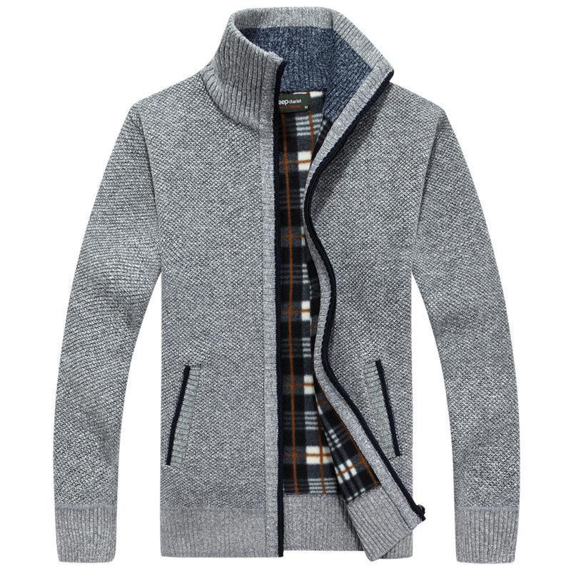 Camisola casaco homens 2020 inverno grosso quente homens de malha lã cardigan blusas puxar homme casual magro encaixar cheia zip kitwear cinza