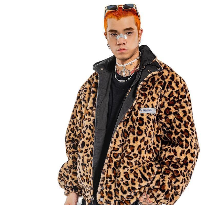 Autunno Moda Leopard Stampa FAUX MINK Giacca in pelle Uomo Inverno Addensare Cappotto in pelle di pelliccia calda Uomini Giacche da uomo