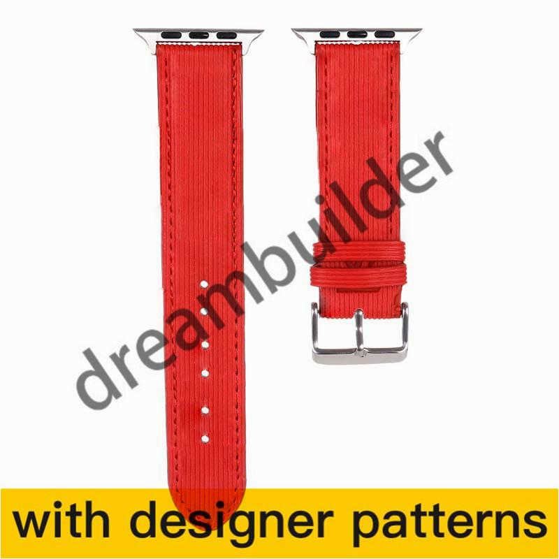 V Brand Designer Watchband Iwatch Band 42mm 38mm 40mm 44mm IWatch 2 3 4 5 Bands Cinturino in pelle Braccialetto Drop Shipping