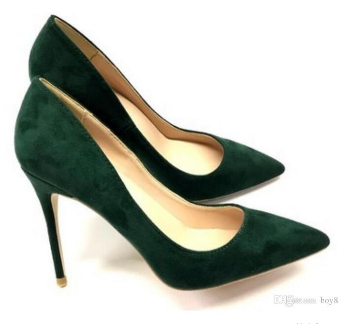 Yeni Siyah-yeşil Süet turuncu Kadın Kırmızı Alt Cusp İnce topuk Ayakkabıları Sığ ağızlı Tek Ayakkabı büyük boy 45 düğün 10 cm Yüksek topuklu