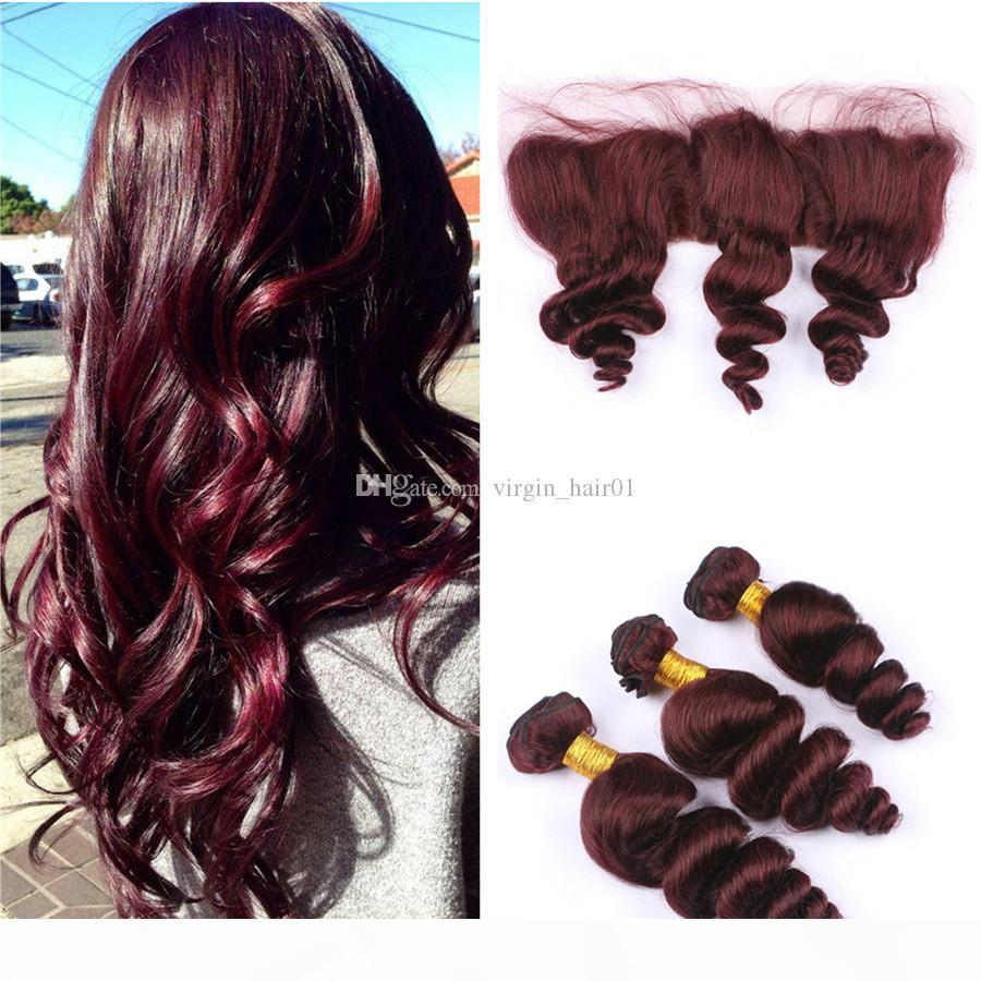 Vino rojo cabello humano 3 paquetes con 13x4 oreja a oreja Cierre frontal de encaje completo # 99J Burgundy Malasia Ola suelta Hair 4pcs Lot