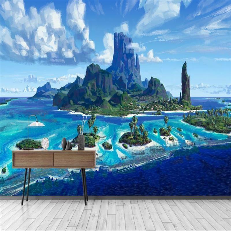 تخصيص HD مجردة رسمت باليد النفط على شاطئ البحر جوز الهند اللوحة الزخرفية جدارية خلفية مخصصة كبير جدارية خلفية خضراء