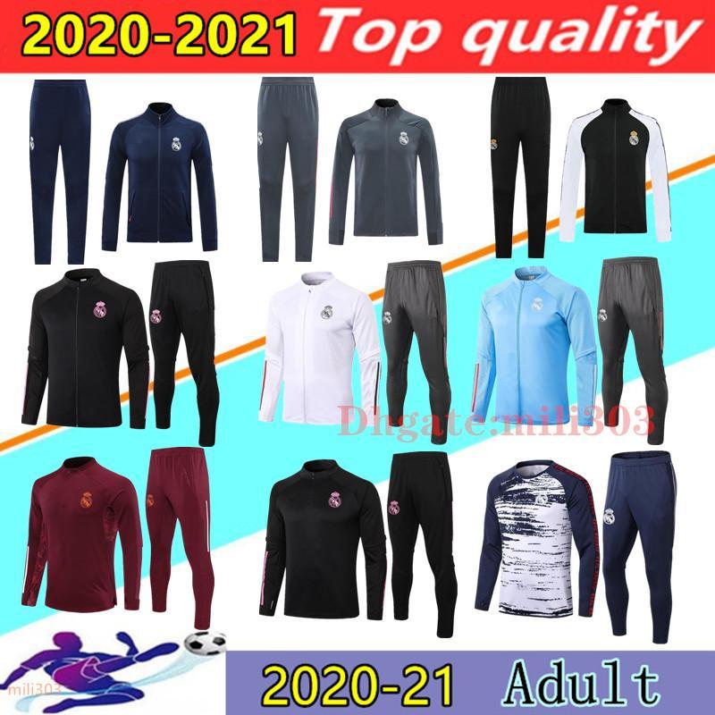 20 21 Real Madrid soccer tracksuit jackets Chandal 2020 2021 camiseta de futbol HAZARD BENZEMA MODRIC football jacket training suit jogging