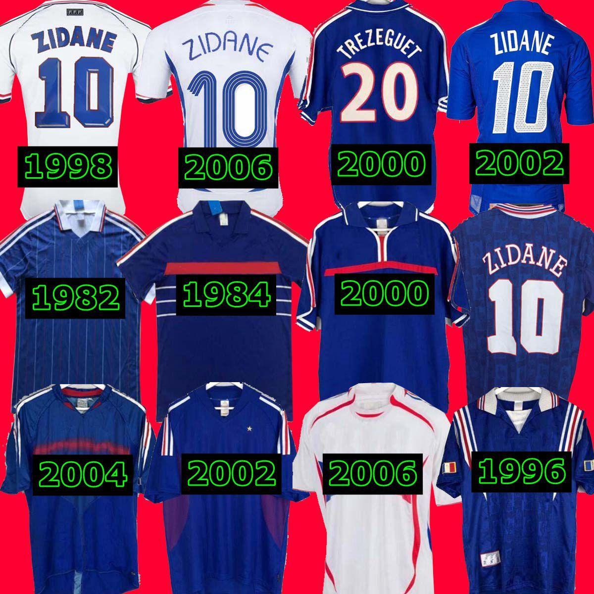 1998 2002 زيدان هنري 1996 2004 1984 Trezeguet 1982 نهائيات 2006 Deschamps 2000 2010 فرنسا ريترو لكرة القدم جيرسي مايلوت دي كومفوفالي