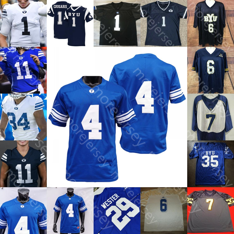 Custom Byu Football Jersey College Zach Wilson Ty'son Williams Sione Finau Steve Young Lopini Katoa Matt Bushman Micah Simon Hifo Romney