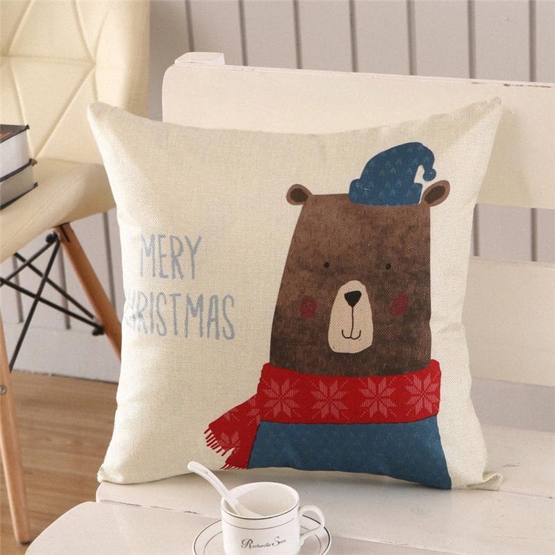 Christmas Series Home Decor Kissenbezug Soft-Leinen Einhäuptiges Pillowcase Erwachsene Kinder Festival Geschenk-Kissenbezug 902a #