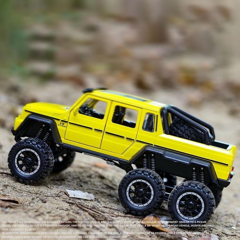 1:32 مقياس AMG G63 6x6 بيك اب سيارات الدفع الرباعي قبالة الطريق سبائك معدنية سيارة نموذج دييكاست المركبات سيارة لعب للأطفال أطفال الهدايا Y200109