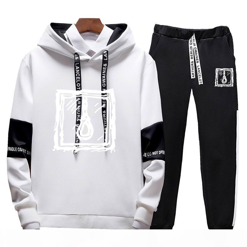 Homens sets esporte terno tracksuit outfit terno 4xl 2 peça set ternos hoodies longas calças mornas primavera outono hoodie set roupas
