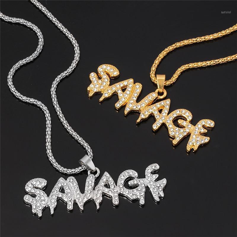 Moda Masculina Bling Bling Savage Letter Colar Pingente Brilhante Link Cadeia Colar Gargantilha Hip Hop Jóias para Men1
