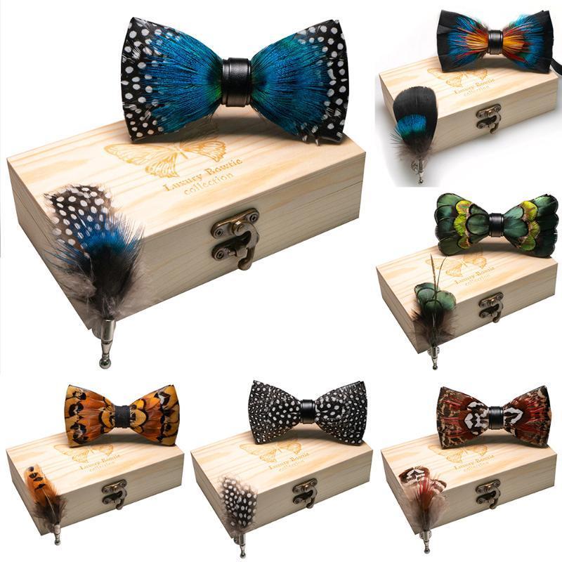 Pajarita JEMYGINS original nuevo diseño de la pajarita natural de la pluma hecha a mano exquisita de los hombres de lujo del partido de Madera boda caja de regalo conjunto