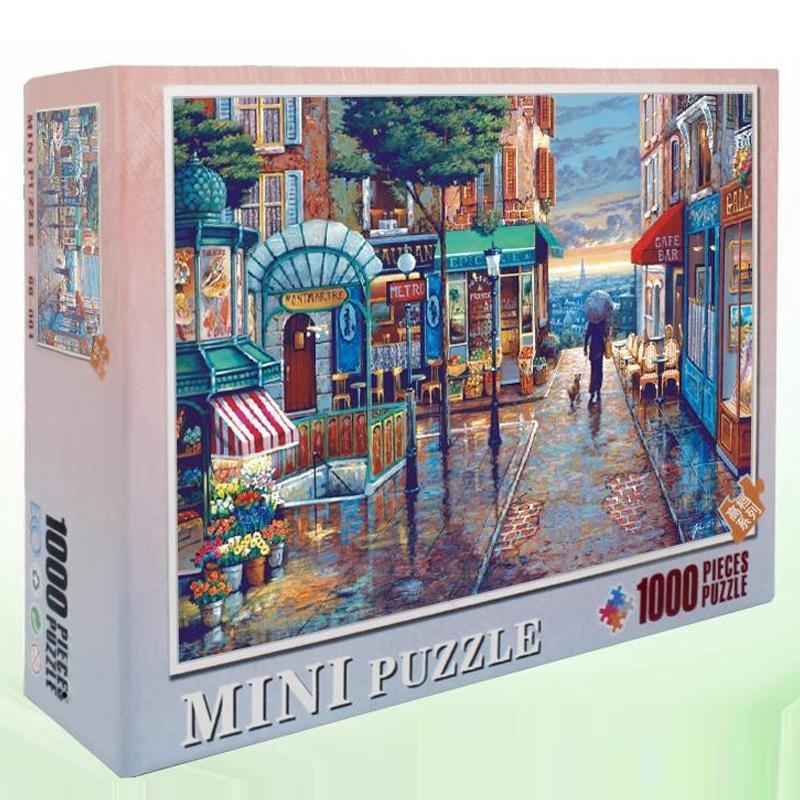 Hommat Puzzle Puzzles für Erwachsene Kinder Puzzle 1000 Stück Europa Paris Town Rainy Street Gehen Eine Hundelandschaft Pädagogisches Spielzeug Y200421