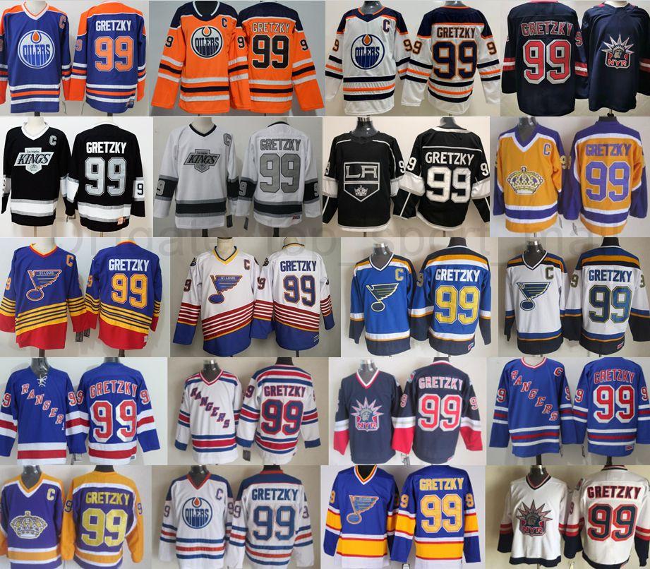 Hombres New York Rangers 99 Wayne Gretzky Jersey Hockey St Louis Blues Los Angeles Kings Edmonton Oilers Vintage Blue White Black 1979 1988 1996