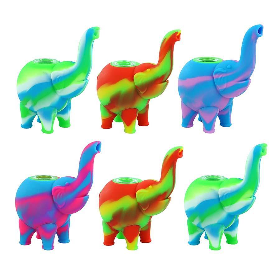 Nuevo patrón de elefante Mini Bubbler Tubos de agua Colores múltiples Colores de aceite de silicona Plato de vidrio Bong Tubos de agua para fumar Tubería de agua gratis