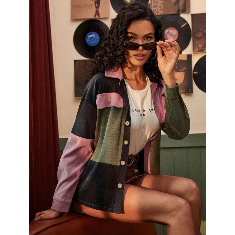 Mulheres Corduroy jaqueta casual de moda da manta Botões bolsos do casaco Cropped Tops Puff soltas manga comprida Casacos