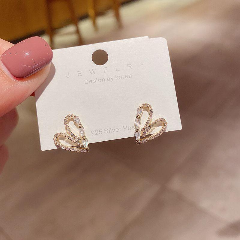 Squisita stile coreano orecchini cuore oro colore cubico zirconia orecchini orecchini moda donne gioielli
