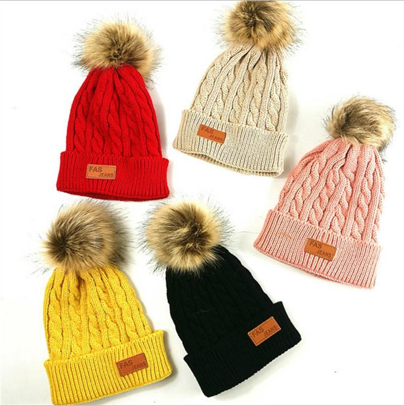 2020 Autumn Winter Children Knitted Hat Beanie Newborn Warm Crochet Hats Fashion Kids Boys and Girls Casual Outdoor Travel Skull Cap E101002