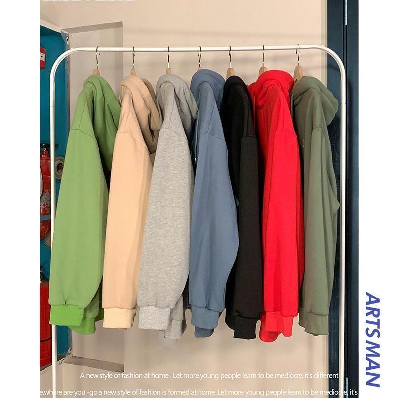 Чистый цвет с капюшоном пару одежды случайные мужчины и женщины студентов рыхлой плюс толстый бархат осенью и зимой пальто одежды