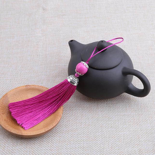 1 unid lot mezclado color tassel de seda con color plata tapas de cuentas encantos colgantes colgantes borlas de cuero cordones para accesorios de joyería de bricolaje h jllwci