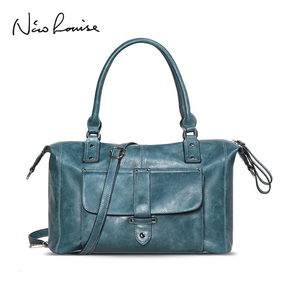 Nico Louise Brand New femmes en cuir Top-manche Bagstote Sac de loisirs Grand Lady Casual bandoulière Sac à main épaule