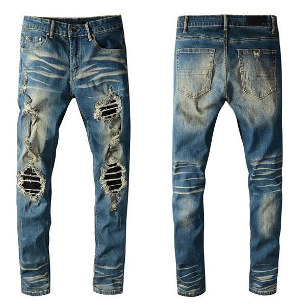 Nuevo estilo de moda para hombre Slim Slim Fit Biker Jeans Pantalones apenados flacos destruidos Denim Jeans lavados Pantalones de Hiphop Lavados 1317