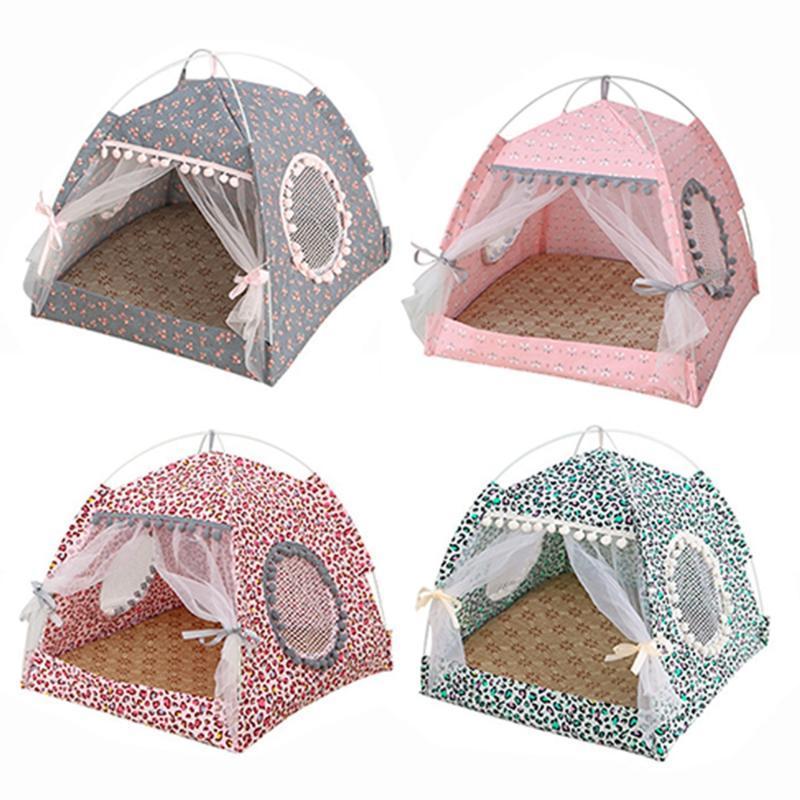 الصيف الحيوانات الأليفة سرير مع وسادة الكلب القط النوم البيت انفصال تنظيف الحيوانات الأليفة في البيت المتوسطة كلب صغير سرير خيمة محمولة بيت الكلب