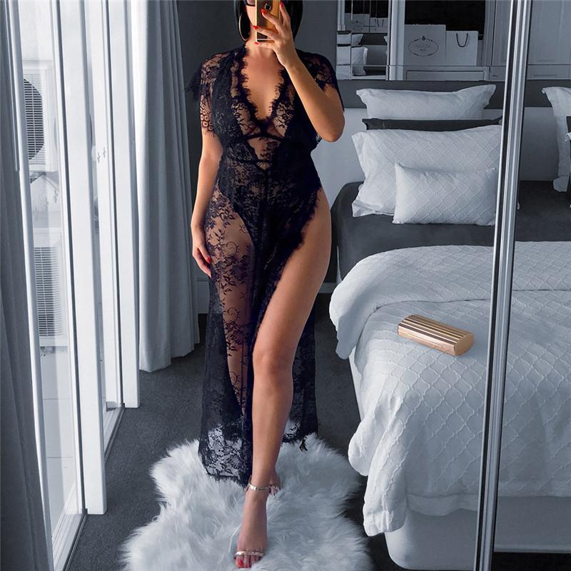 Moda Dantel Bayan Seksi Etek Sheer Osild Renk Bayan İki Parçalı Setleri Tasarımcı V Boyun Giyim 2021