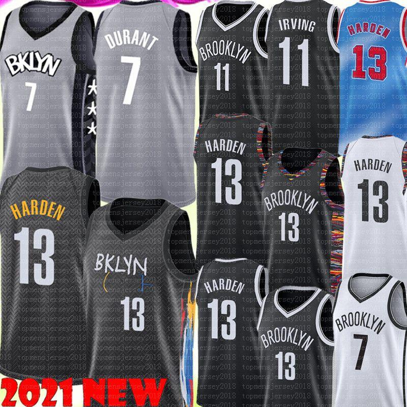 NUEVO 13 Harden Jersey Kevin 7 Durant Jersey 11 Kyrie Men's Basketball Irving Jerseys Venta baratos de alta calidad negro blanco gris