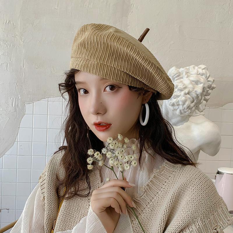 Corduroy Beret Cappelli Donne Grils Inverno Autunno Cappello Pittore femminile ottagonale Cappello in cotone colore solido morbido Flat Top Caps