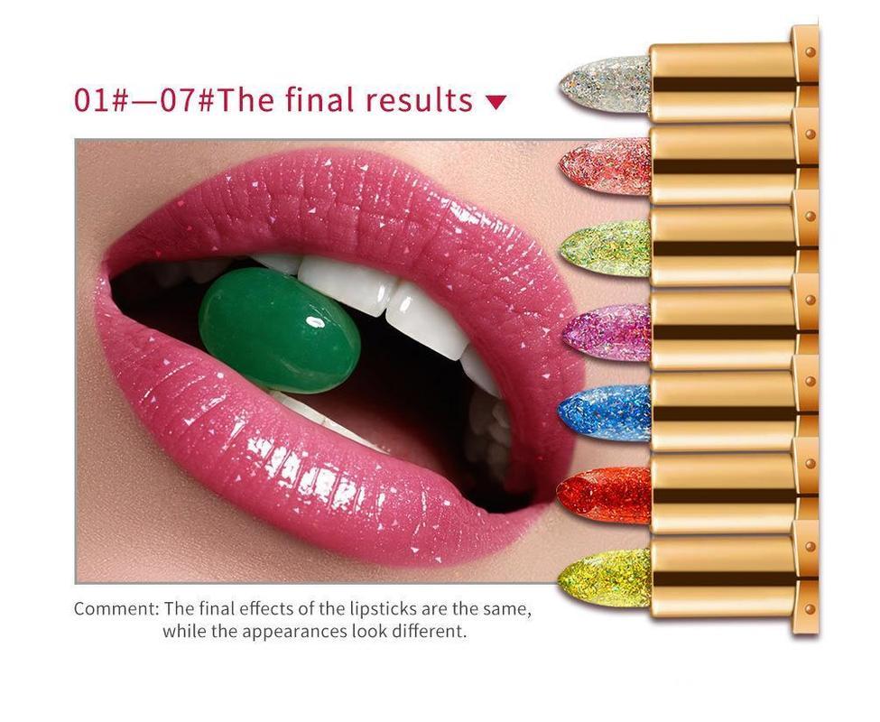 뜨거운 판매 7colors 다이아몬드 립스틱 마법 온도 컬러 립스틱 긴 지속 방수 립스틱 반짝이 립 마크 크림 무료 배송