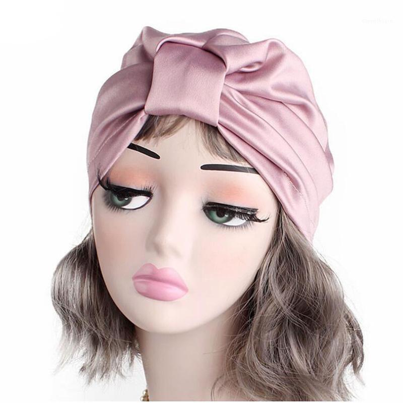 Beanie / Kafatası Kapaklar 2021 Kadınlar Lüks İpeksi İpek Türban Şapkalar Kafa Wrap Sıkı Chemo Moda Hindistan Yumuşak Kasketler Headaccessories1