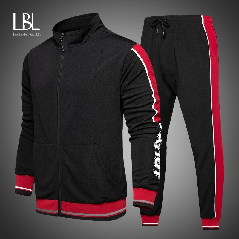 Nuevos trajes deportivos de otoño Traje de los hombres Trajes de sudor casual de sudor masculino Sportswear 2 pieza Set Hombres Sudaderas + Pantalones Streetwear 201109