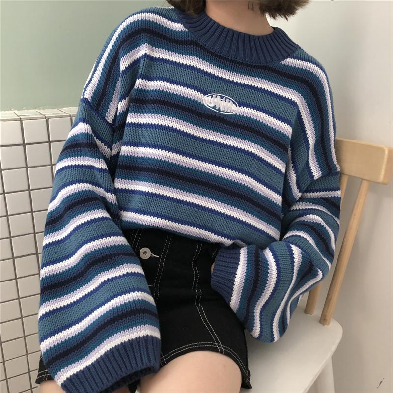 Suéteres de Kawaii Ulzzang suelta Puente Estudiante suéter rayado Mujer coreana Harajuku Ropa de Señora suéter para las mujeres de las mujeres