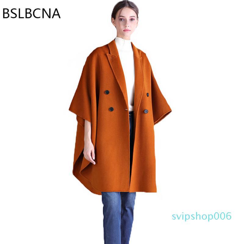2018 outono estilo europeu senhora cara dupla casaco de lã manto solto plus size cashmere casaco de inverno mulher A310