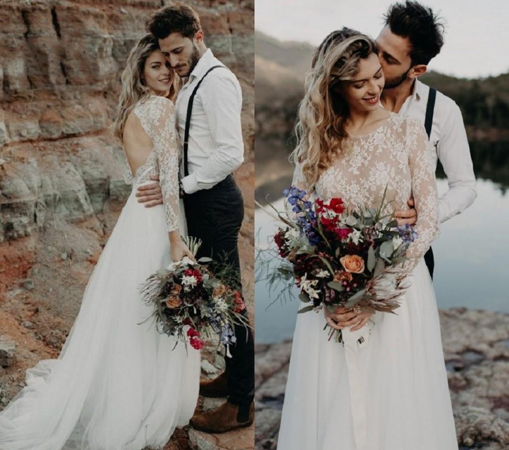 Country Style Boho Beach Housses longues Plus Taille Robes de mariée Dossier Dossier Dresses Robe de mariée Robes de mariée Vestidos de Noiva