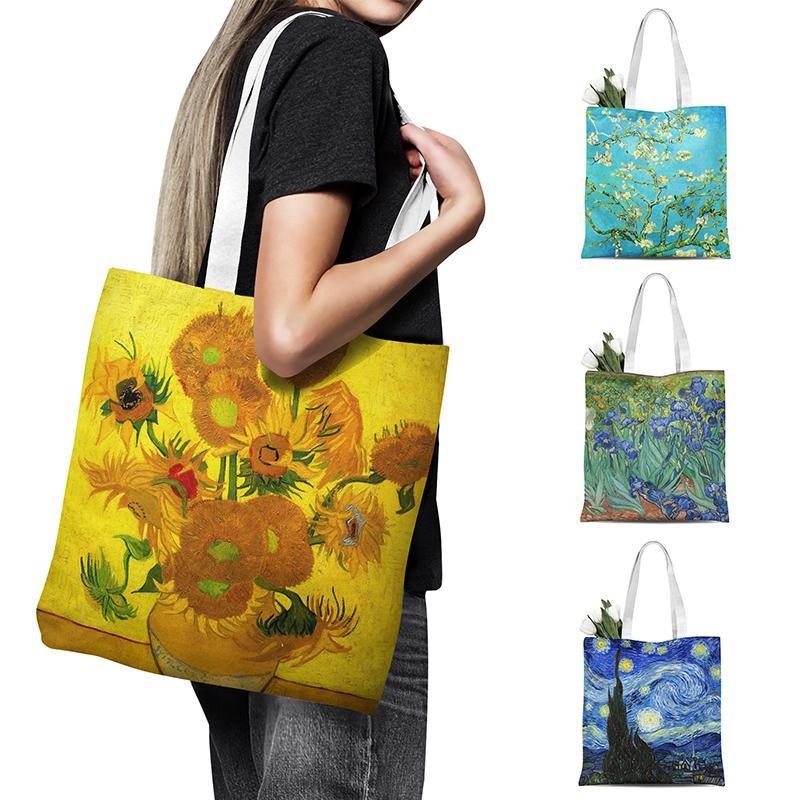 Nuovo Van Gogh della pittura a olio Travel Bag Canvas Tote Borsa retrò arte di modo delle donne di svago di acquisto di eco di alta qualità pieghevole Handbag